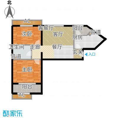碧玉家园一期二室一厅一卫-85.12平米户型