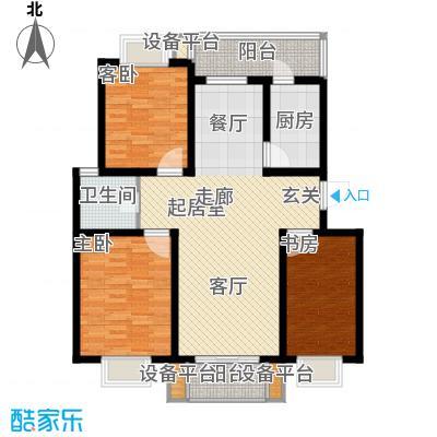 九通家园二期三室两厅一卫-116.51-117.20平米户型
