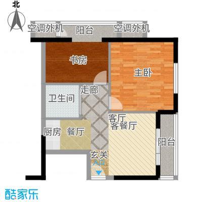 万丽国际公寓户型B 一室一厅一卫户型