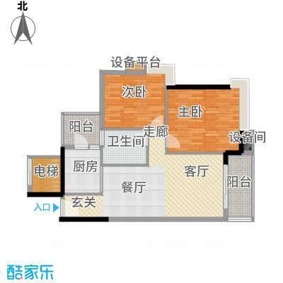 岭南雅苑90.10㎡2号楼1单元05户型2室2厅1卫1厨户型2室2厅1卫