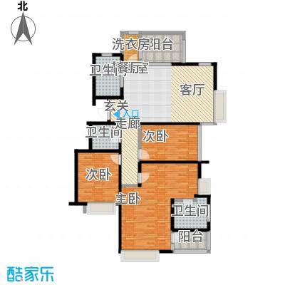 国贸仁皇142.00㎡CM户型(标准层)户型3室2厅2卫