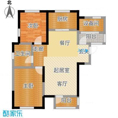联发第五街92.15㎡6号楼01户型2室2厅1卫