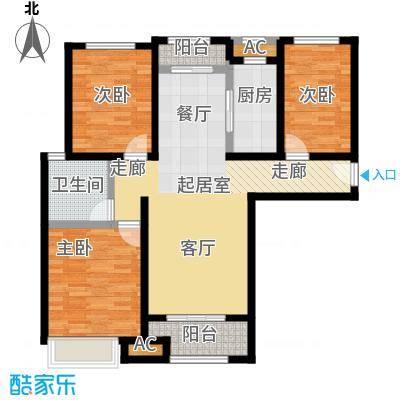 豪森名邸112.00㎡b23室2厅1卫112户型3室2厅1卫