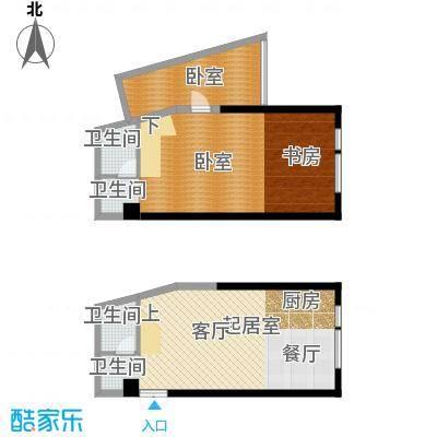 晓庄国际广场92.18㎡L平面图户型2卫