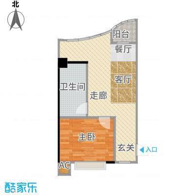 金雅迪大厦43.16㎡一室两厅一卫55m2户型