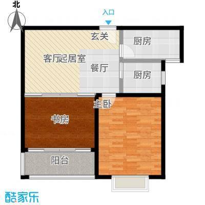 华夏泉绅80.00㎡28#楼M2户型2室2厅1卫