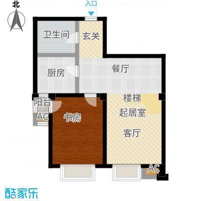绿岛公寓D型一室一厅一卫户型1室1厅1卫