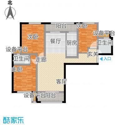 揽盛金广厦142平米三室两厅两卫户型