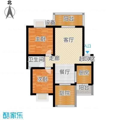 名门外滩88.90㎡两室两厅单卫三阳台户型
