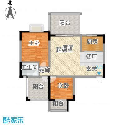 名门外滩90.40㎡8C6两室两厅单卫三阳台户型