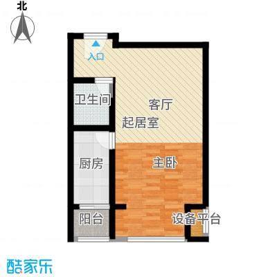 水岸龙庭56.00㎡56平米1室1厅1厨1卫户型