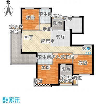 紫薇花园洲户型3室2卫1厨