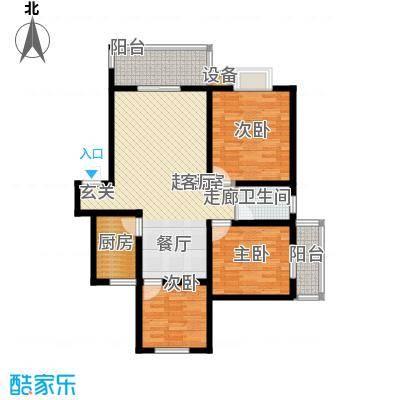 名门外滩98.10㎡G1三室两厅单卫双阳台户型