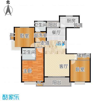 明城玫瑰园120.00㎡房型: 三房; 面积段: 120 -130 平方米;户型