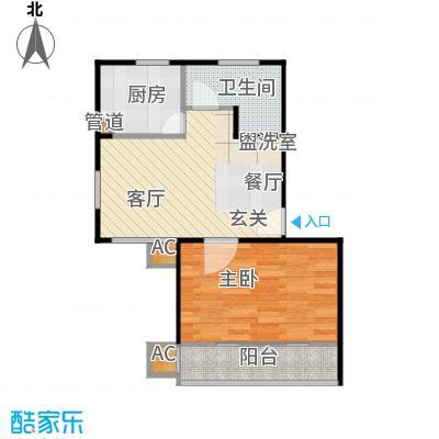 明城玫瑰园50.00㎡房型: 一房; 面积段: 50 -60 平方米;户型