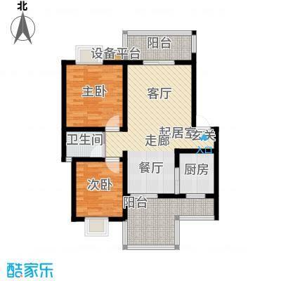 名门外滩78.22㎡E1顶两室两厅单卫双阳台户型