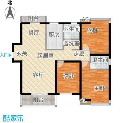 怡和名居户型3室2卫1厨