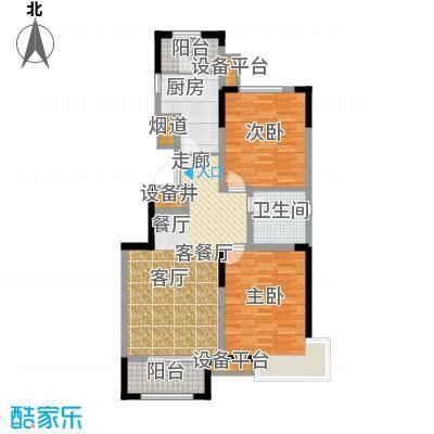 泰达风景95.42㎡瞰景系小高层户型2室2厅1卫