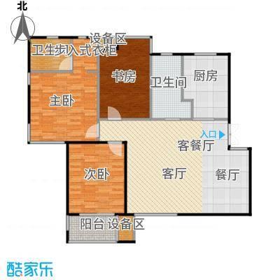 滨湖・明珠三房两厅两卫127.63m2户型