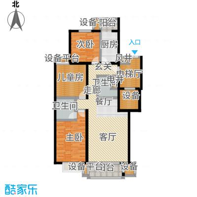 梨花江苑132.16㎡经典三居户型3室2厅2卫
