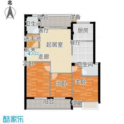 京华观邸114.43㎡8-11号楼 2号户型 三室两厅二卫户型
