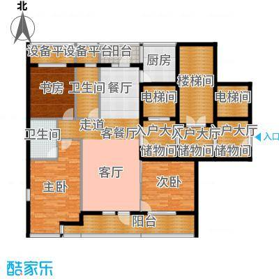 绿城御园144.00㎡高层D户型4室2厅2卫