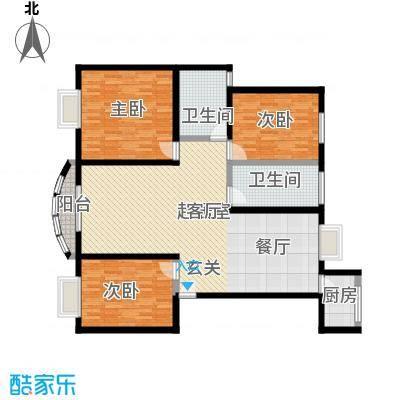 新地苑125.00㎡125平方米三室两厅两卫南北通户型