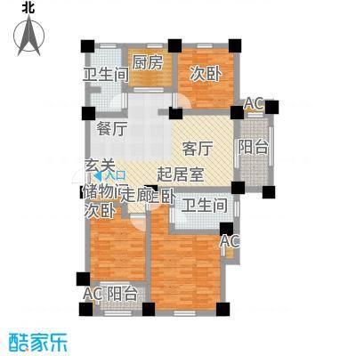 伟业迎春世家107.00㎡三房两厅两卫户型3室2厅2卫-T