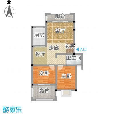 和祥苑78.50㎡3#1-A型:2房2厅1卫户型