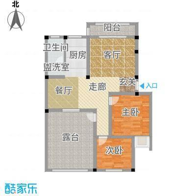 和祥苑86.20㎡2#1-A型:2房2厅1卫户型