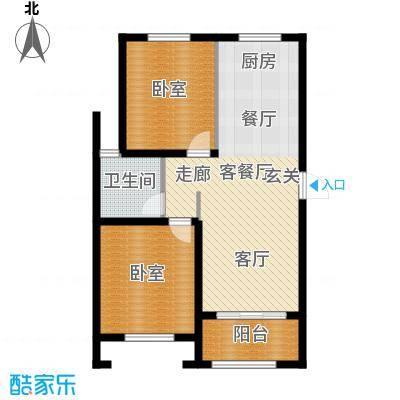 伟业迎春乐家79.00㎡多层2-C户型2室2厅1卫