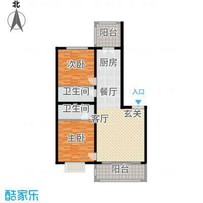 群力观江国际二室二厅使用面积85.86平米户型