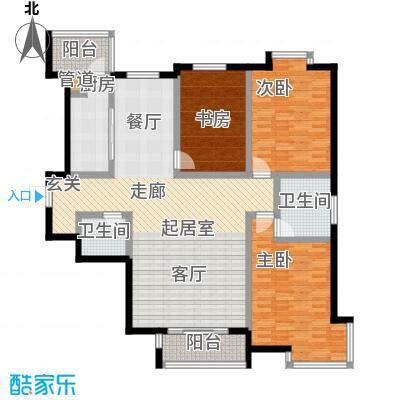 欧翔奥锋140.00㎡三室二厅户型
