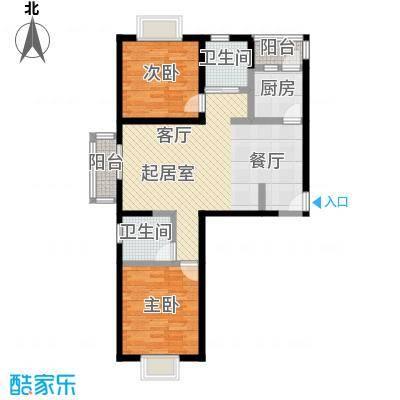 伊顿玫瑰公寓G户型 三室两厅一卫户型