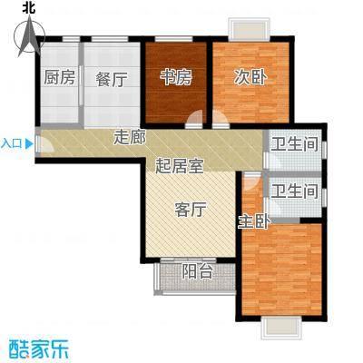 伊顿玫瑰公寓H型 三室两厅两卫户型