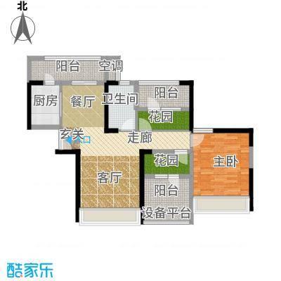 常绿林溪谷89.50㎡三房二厅一卫户型3室2厅1卫