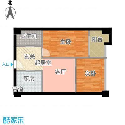 天昊梅园58.00㎡A户型58-61㎡户型2室1厅1卫