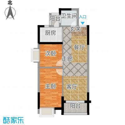 瑞�国际公馆80.99㎡1号楼C户型2室2厅1卫