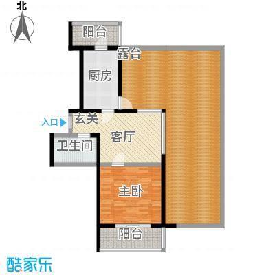 虹畔馨苑6-8号楼1门03单元H2顶层一室一厅 77.90㎡户型