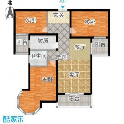 南阳桂花城御景138.85㎡3室2厅1卫1厨户型3室2厅1卫
