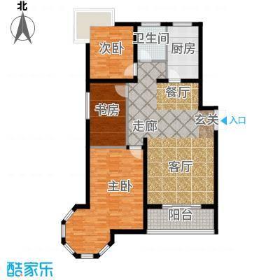 南阳桂花城御景114.25㎡3室2厅1卫1厨户型3室2厅1卫