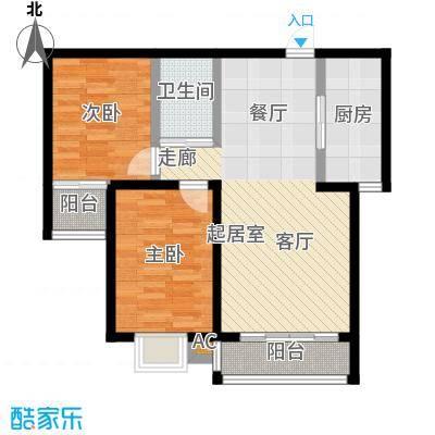 盛世桃城2室2厅1卫 91.54/91.23平米户型2室2厅1卫