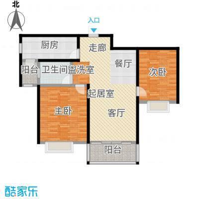 君悦花苑95.00㎡高层B4户型2室2厅1卫