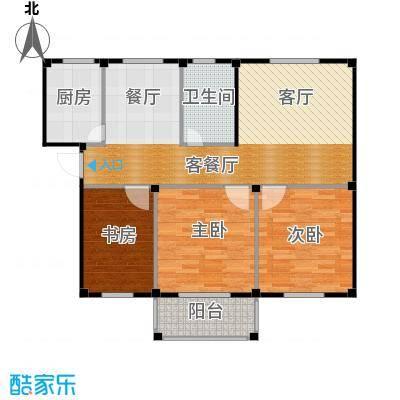东海明园97.73㎡7#楼01户型3室2厅1卫