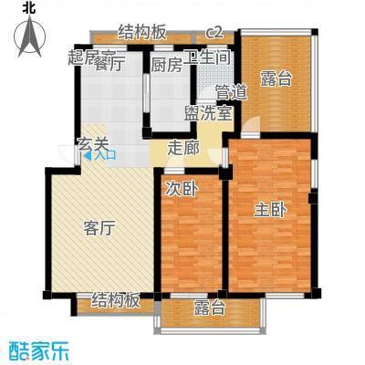 科达华苑乐家科达华苑-锦添阁-户型图两室两厅-面积112-114平方米户型2室2厅1卫