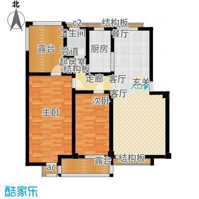 科达华苑乐家科达华苑-锦添阁-户型图两室两厅-面积115-117平方米户型2室2厅1卫