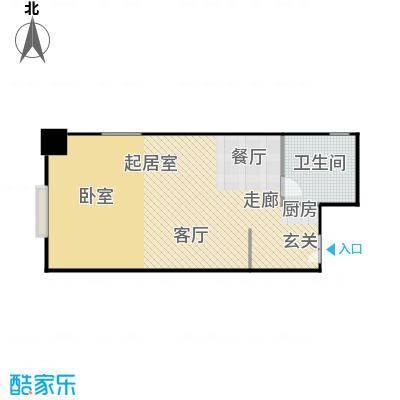 财富中心二期79.00㎡A型结构 1室1厅1卫户型