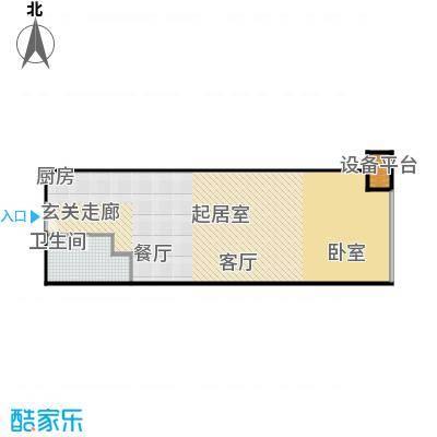 财富中心二期78.89㎡B型结构 1室1厅1卫户型