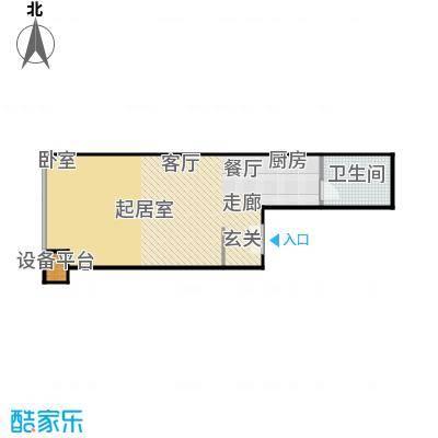 财富中心二期63.00㎡C型结构 1室1厅1卫户型