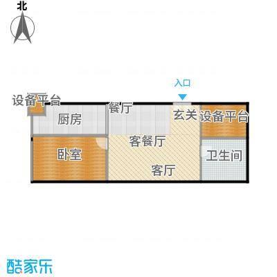 财富中心二期72.02㎡E型结构 1室1厅1卫户型